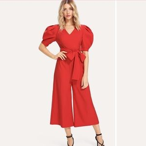 Red puff sleeve jumpsuit
